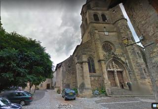 Saint-Côme-d'Olt.church & tree-shaded place.google maps