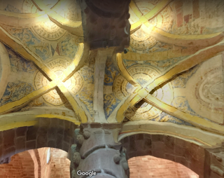 Espalion.chapelle of Perse.painted ceilings in transept.from google maps