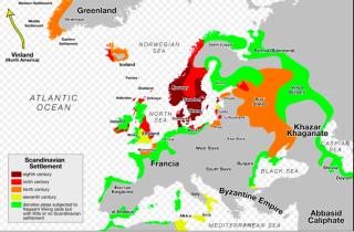 Viking settlements and raids. from wikipedia
