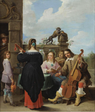 David Teniers. The artists amily in concert on the terrace of a country house c1640