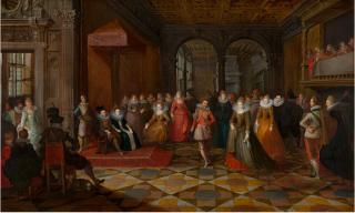 Frans Francken.Ballroom Scene at a Court in Brussels.1610.