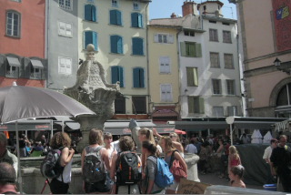 Le-Puy-en-Velay.live market and group of pilgrims.2012