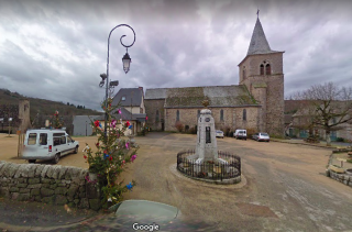 Espeyrac.view of church and monument aux morts.google maps