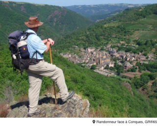Conques.the view from the GR65 before descending into town
