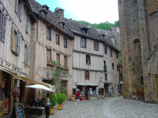 Conques.in front of Abbaye church of Ste Foy.2007
