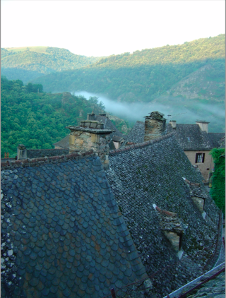 Conques.view of lauze roofs and setting.2007