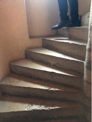 Stairs.medieval circular stairs at Pérouges.Nov2019