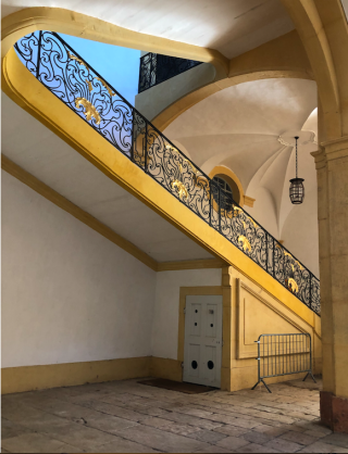 Stairs.18th century monastic stairs at Cluny.Nov2019